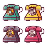 Retro telefon med symboler för roterande visartavla stock illustrationer