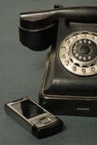 Retro- Telefon mit den Russen Lizenzfreies Stockbild