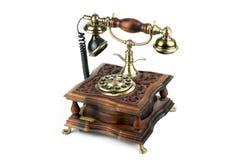 Retro telefon på en vit bakgrund Arkivfoton