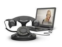 Retro Telefon und Laptop lizenzfreie abbildung