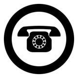 Retro- Telefonikonenschwarzfarbe im Kreis lizenzfreie abbildung
