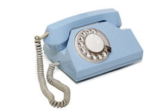 Retro telefono blu Fotografia Stock