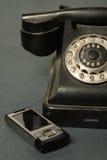 Retro telefono con i Russi Immagine Stock Libera da Diritti