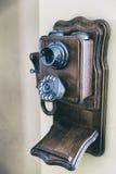 Retro telefono di legno Immagini Stock Libere da Diritti