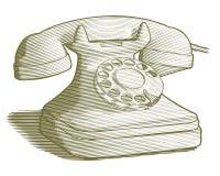 Retro telefono inciso Fotografia Stock