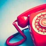 Retro telefono rosso Fotografia Stock Libera da Diritti