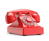 Retro telefono rosso (d'annata) Fotografie Stock