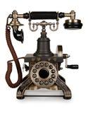 Retro telefono - telefono dell'annata su fondo bianco Fotografia Stock Libera da Diritti