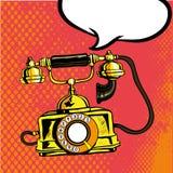 Retro telefonringning Vektorillustration i komisk stil för popkonst Royaltyfria Bilder