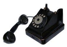 Retro- Telefonschwarzes getrennt Lizenzfreies Stockbild