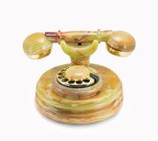 Retro telefoon die van onyx wordt gemaakt Stock Foto's