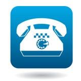 Retro telefoon met een pictogram van het taxiteken, vlakke stijl royalty-vrije illustratie