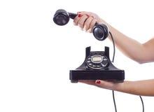 Retro Telefoongesprek Stock Foto