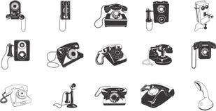 Retro telefoonpictogrammen royalty-vrije illustratie