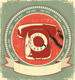 Retro telephon sign.Vintage label background Royalty Free Stock Images