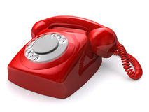 Retro telephone. 3d rendered illustration of a red retro telephone Stock Photography