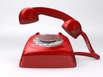 Retro telephone. 3d rendered illustration of a red retro telephone