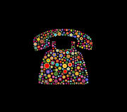 Retro telephone. Vector illustration of telephone shape made up a lot of  multicolored small flowers on the black background Stock Photo