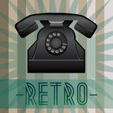 Retro telephone. Retro background with old fashioned telephone and with inscription. Vector eps format is available Stock Image