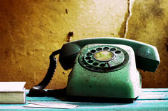 Retro telephone and card Royalty Free Stock Photo