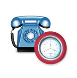 Retro telephone and clock Stock Photos