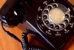 Retro telephone. Close up of a dusty old black telephone stock photos