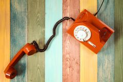 Retro  telephone on colorful background Royalty Free Stock Images