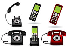 Retro telephone and cordless phone Stock Photography