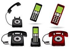Retro telephone and cordless phone. Retro telephone and cordless -  illustration Stock Photography