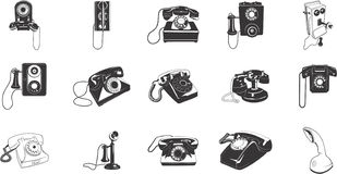 Retro telephone icons Stock Photo
