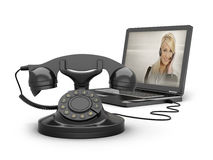 Retro telephone and laptop Stock Image