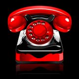 Retro telephone. Red black, vector illustration stock illustration