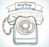 Retro telephone. And ribbon with text - Ring! Ring Royalty Free Stock Images