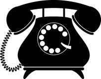 Retro telephone. Silhouette Royalty Free Stock Photography