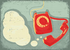 Retro telephone.Vector grunge poster Royalty Free Stock Photo