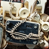 Retro telephones Stock Photo