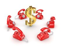 Retro telephones around golden dollar sign. Stock Photo