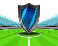 Retro televisie in het middenveld van de vector van het voetbalstadion Stock Foto