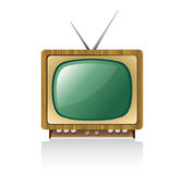 Retro television. Illustration of retro television set with aerial or antennae, isolated on white background Royalty Free Stock Photos