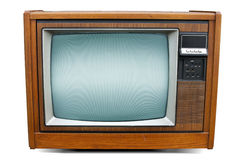 Retro Television. A retro old brown wooden console television.  On a white background with slight shadow easily removed Stock Images