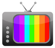 Retro television. With colorful test screen (copy space provided on the TV screen Royalty Free Stock Photography
