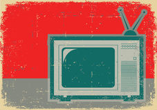 Retro television . Grunge symbol on old poster Royalty Free Stock Photo