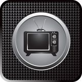 Retro television on black checkered web button Stock Photography