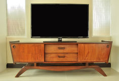 Retro Television cabinet. In room Royalty Free Stock Image
