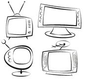 Retro television. Retro cartoon television. Doodle style. Illustration clip art Stock Image