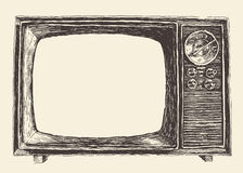 Retro Television Empty Screen Vector Hand Drawn Stock Images