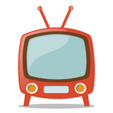 Retro Television. Illustration of a Red television on white background. Vector illustration of old fashioned two legged TV set isolated on white background stock illustration