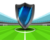Retro television in the midfield of football stadium vector Stock Photo