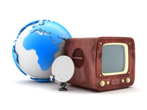 Retro television and modern satellite Stock Photo