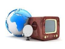 Retro television and modern satellite Stock Photo